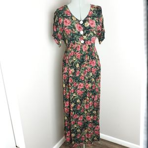 Vintage romantic moody floral maxi dress